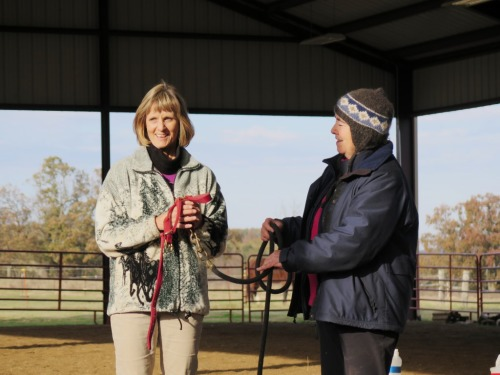 Horse clicker training - Practicing rope handling using human horses
