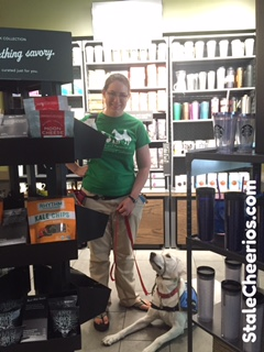 Logan, a service dog in training, visits Starbucks