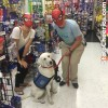 Service dog and halloween masks